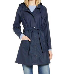 Halogen NWT Size XS Waterproof Hooded Rain Jacket Navy Blue Belted Womens