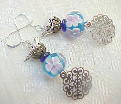 Lampwork Earrings Aqua Blue Bird Watcher Artisan Glass Bead Birthday Gifts Women