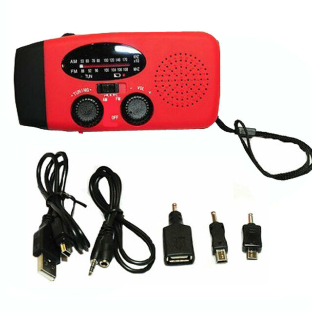 Emergency Solar Dynamo Power Hand Crank Radio LED Flashlight +Cell Phone Charger