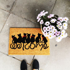 Black Cat Welcome Text Fun Coir Doormat PVC Anti Slip Rug Entrance Floor Mat