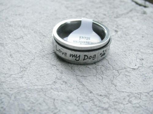 Drehring Anillo Rotativo Love My Dog Edelstahl Ring Hund