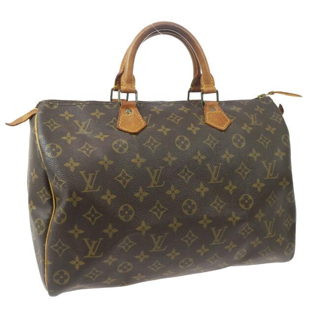 LOUIS VUITTON SPEEDY 35 HAND BAG MONOGRAM CANVAS LEATHER VI874 M41524 33138