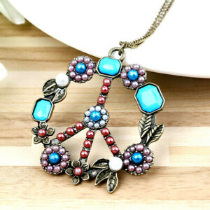 Classic-70s-PEACE-Sign-Symbol-FLOWER-Child-POWER-Vintage-Inspire-Style-Necklace