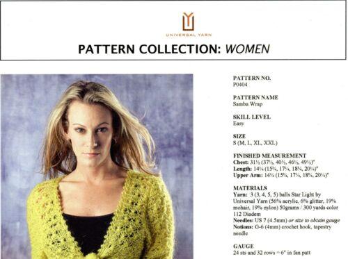 Samba Wrap Universal Yarn Knitting Pattern #P0404 Women S-XXL