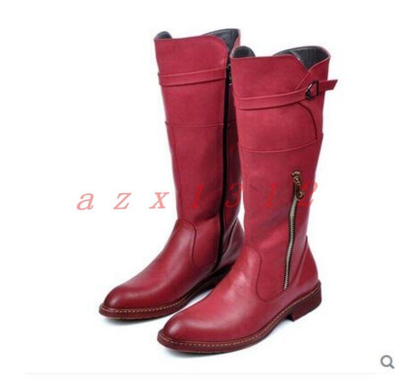 Nuevo Para Hombres Puntera Puntiaguda Militar Cremallera Hebilla de la rodilla botas altas Zapatos otoño Británico Retro
