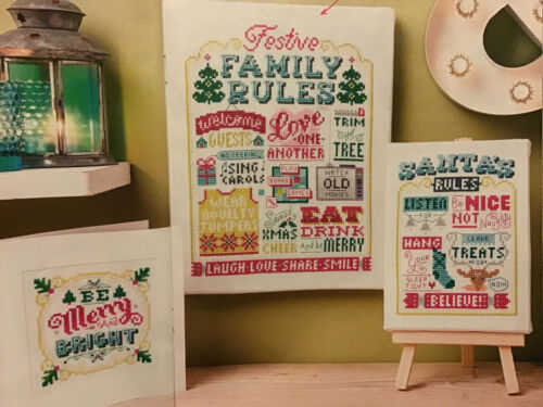 X5 Emma Congdon Festive Family Rules Card Poster Christmas Cross Stitch Chart