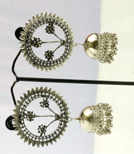 Indian Traditional Bollywood Silver Oxidized Mugal Jhumka Jhumki Stud Earrings