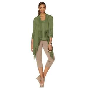Serena-Williams-Women-039-s-Long-Sleeves-Fringe-Wrap-Cardigan-Olive-X-Small-Size-HSN