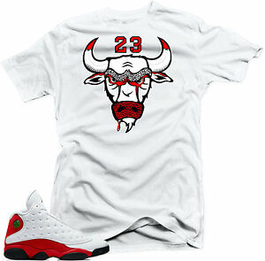 884ac22f07e9 Shirt to Match Air Jordan 13 Chicago Sneakers Bull23 White Tee