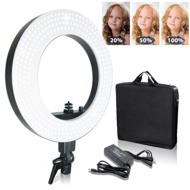 "18"" Photography Ring Light Lusana Studio Fluorescent 50W 5600K Dimmable w/ Bag"