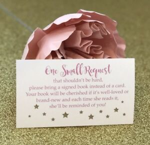 20-Book-Request-Cards-For-Girl-Baby-Shower-Invitation-Insert-Pink-And-Gold