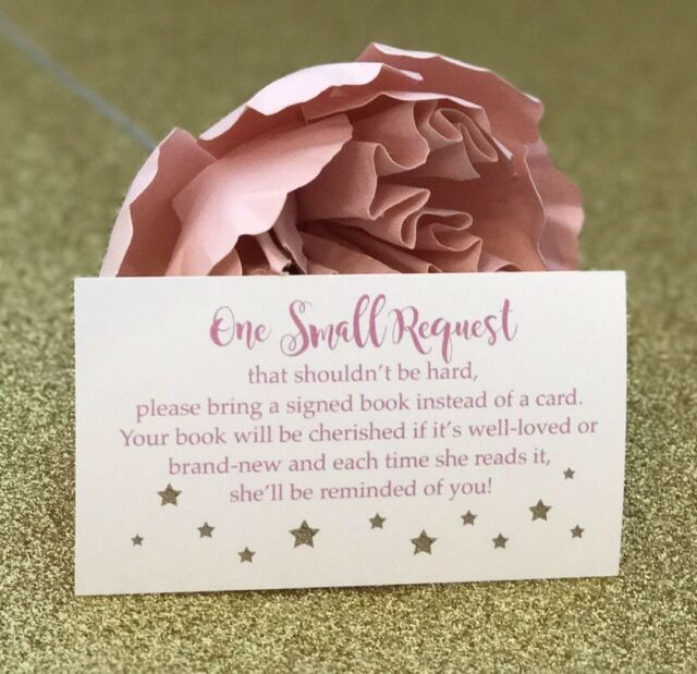 20 Book Request Cards For Girl Baby Shower Invitation Insert Pink And Gold