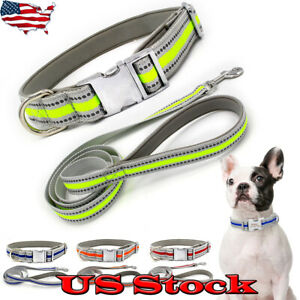 Safety-Nylon-Dog-Collar-Reflective-Puppy-Small-Large-Dogs-Collars-And-Leash-US