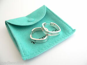 7b89a393143ba Details about Tiffany & Co Sterling Silver 1837 Square Hoop Earrings Rare