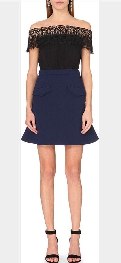 Mini Vestido autorretrato Bardot una línea Talla 8 12 US  Reino Unido  primera vez respuesta