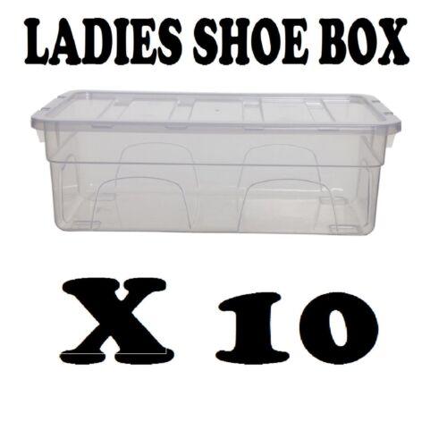 LADIES SHOE BOX x 10 PLASTIC STORAGE STACKING CLEAR BOXES TRANSPARENT UNIT LIDS