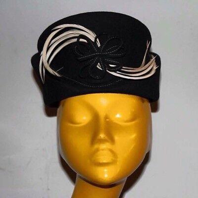 Dedito Vintage Women's Hat In Wool Felt And Natural Feathers 1930 Antico Cappello Donna Buona Conservazione Del Calore