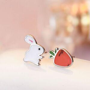Asymmetric-Rabbit-Carrot-Stud-Earring-Women-Gift-Fashion-Jewelry-Ear-Stud