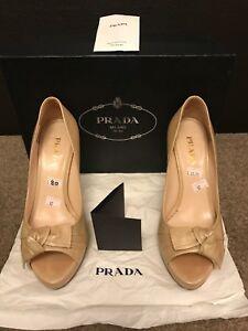 Prada-Beige-Dark-Cream-Peep-Toe-Women-Ladies-Shoes-used-Size-4-5-37-5