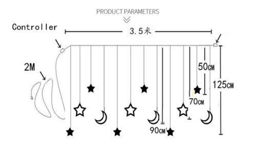 Plug In LED Moon Star Curtain Lights Fairy String Wall Lights Wedding Party Xmas