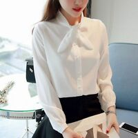 Women Bow Tie Long Sleeve Solid Chiffon Blouse Casual Slim Career OL Shirt Tops