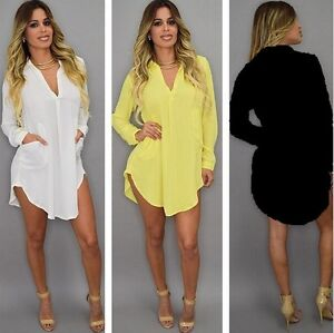 Womens-Casual-V-Neck-Long-Sleeve-Loose-Chiffon-T-Shirt-Ladies-Blouse-Dress-Tops