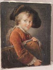 Vintage Oil On Canvas Painting Portrait Of A Young Boy With Book, Unframed.