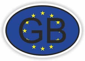 OVAL FLAG GB GREAT BRITAIN INTERNATIONAL COUNTRY CODE STICKER