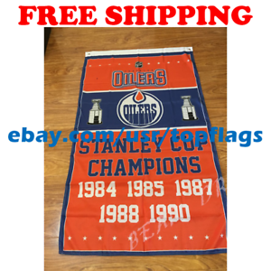 Edmonton-Oilers-Stanley-Cup-Champions-Flag-Banner-3x5-ft-2019-NHL-Hockey-NEW