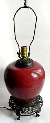 Ancien 1850'S Chinois Flambe Pot Lampe Boeuf Sang Table Lampe   eBay