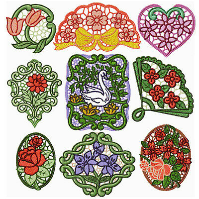 """ABC Designs 9 Poppies Lace Standalone Machine Embroidery Designs SET 5/""""x7/"""" Hoop"""