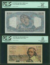 FRANCE  1945-56  1000 FRANCS BANKNOTES, GROUP LOT OF (2), PICK#130a & PICK#134a