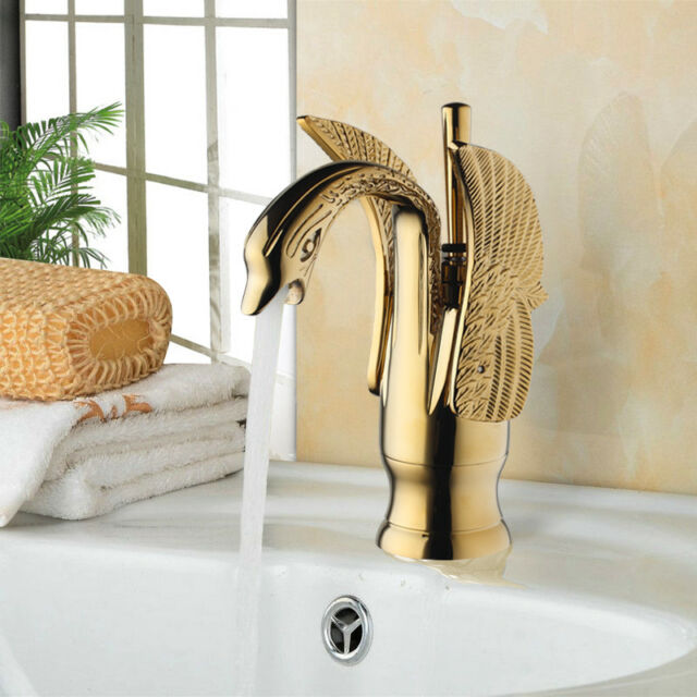Swan Design Bathroom Basin Faucet One Lever Vanity Sink Mixer Tap Gold Polished Plumbing Fixtures Faucets