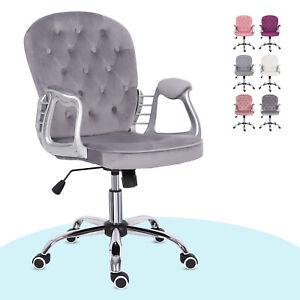 Executive Chair Swivel Computer Desk Armchair Padded Home Office Grey Velvet Uk Ebay