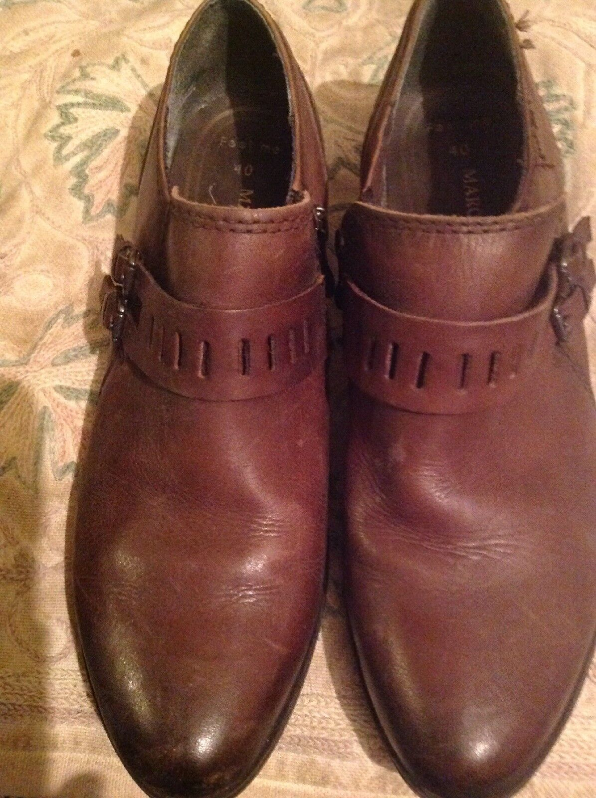 MARCO TOZZI BROWN ZIP UP SIDES SHOES SHORT BOOTS SIZE 40 7 Ex Cond