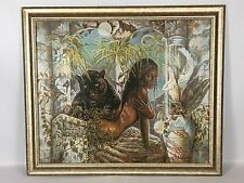 Princess w Panther Lithograph On Canvas Jonnie KC Chardonn African American Art