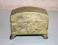 Old Vintage Brass Inkwell Postage Stamp Holder Ink Pot Desk Storage Organiser