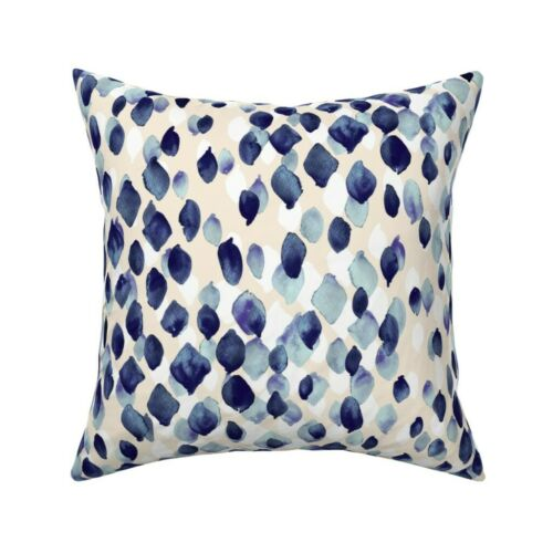 Abstract Indigo Blue Watercolor Throw Pillow Cover w Optional Insert by Roostery