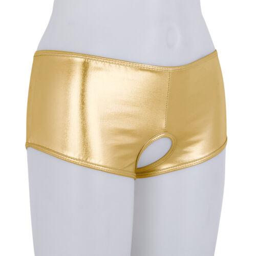 Plus Women PVC Leather Panties Open Crotch G-String Underwear Brief Bikini S-3XL
