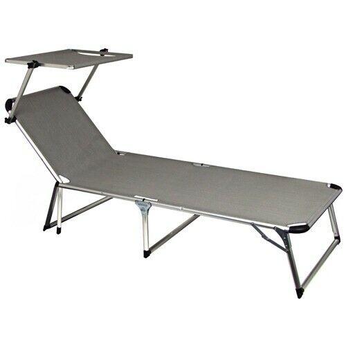 Tumbona de Jardín Aluminio con Techo Solar Plegable Muebles
