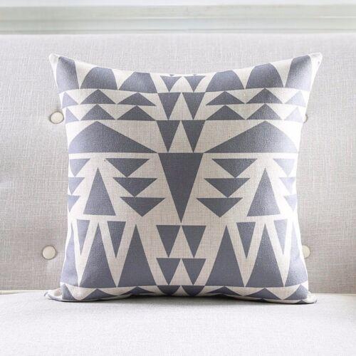 Yellow Geometric Cotton Linen Cushion Cover Grey Grid Throw Pillow Case Decor