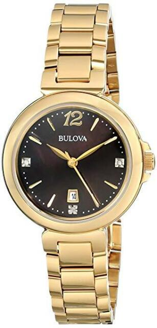 Bulova Women's 97P107 Diamond Gallery Analog Display Quartz Yellow Watch