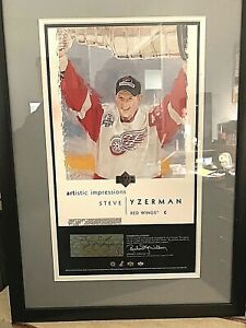 2002-03-Artistic-Impressions-Steve-Yzerman-Auto-Framed-14X17-Detroit-Red-Wings