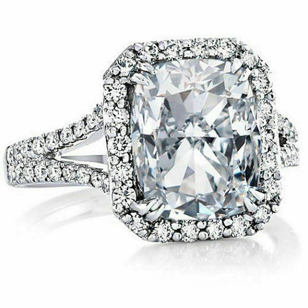 Certified 3.62Ct White Radiant Diamond Engagement Ring in Solid 14K White gold