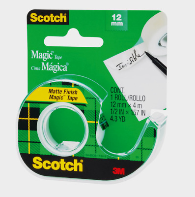 "Scotch Magic CLEAR TAPE Matte Finish Invisible 1//2/"" W x 12.5 yd NEW! L 104"