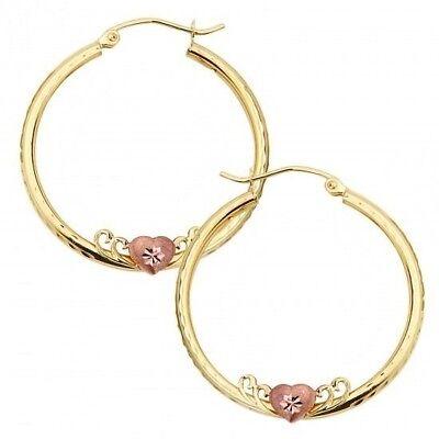 """Solid Yellow Gold Earrings Heart 14k Rose Gold Flower Diamond Cut 1 1//4/"""" Hoop"""