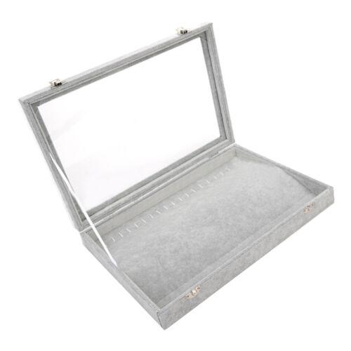 Earring Ring Display Case Organizer Jewelry Storage Box Tray Holder w// Glass Lid