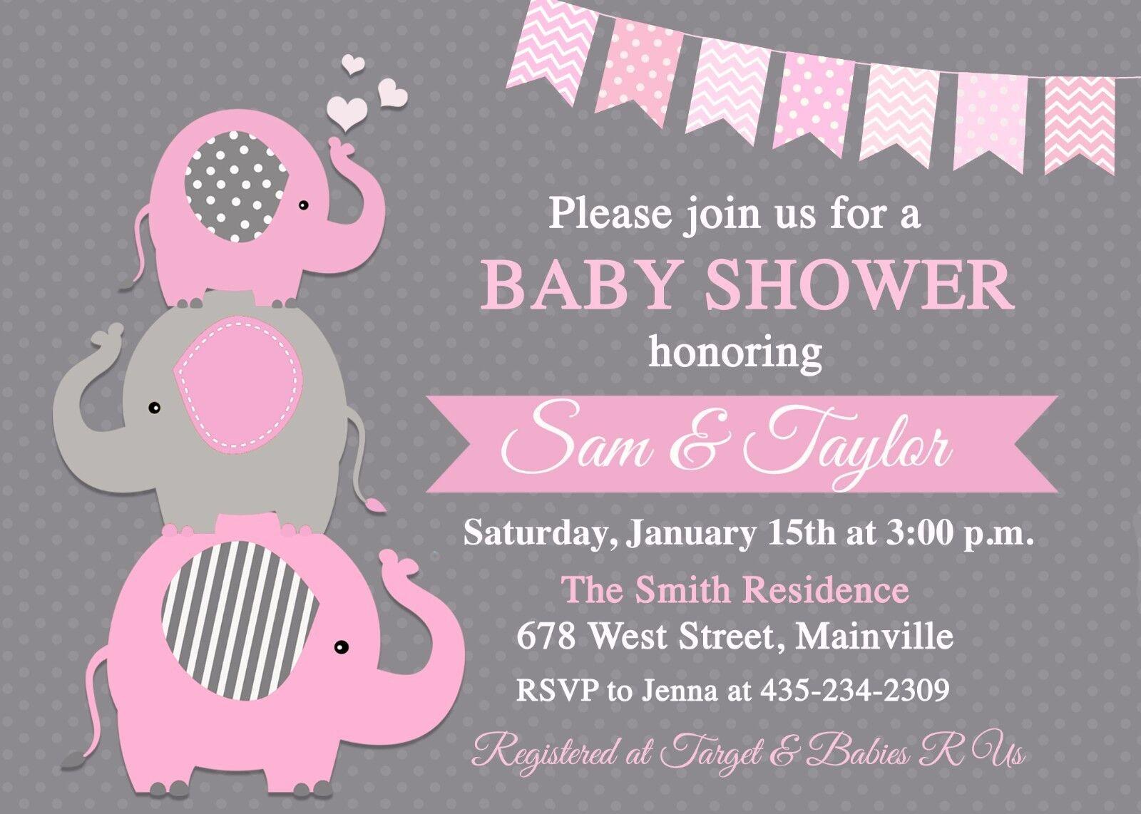 Elephant Baby Shower Invitation Girl Baby Girl Girl Girl