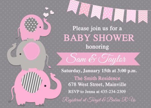 girl éléphant bébé fille fillette Elephant Baby Shower Invitation Rose