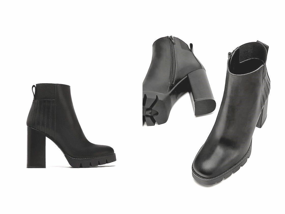 Zara Basic cuero botín track suela Leather botín bote de tacón alto suela profesional